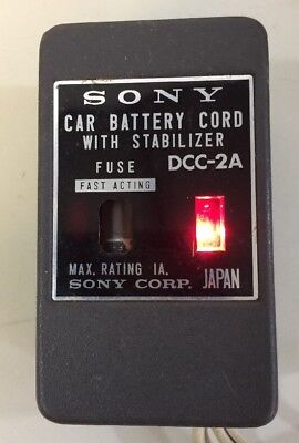 Vtg Sony Micro TV Car Battery Cord w Stabilizer DCC-2A Tested Working For 5-303W