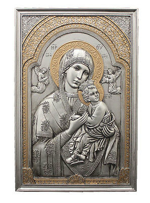 Our Lady Of Perpetual Help Plaque, Pewter Style Finish Cold Cast Bronze
