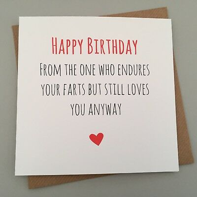 Funny Birthday Card Friends Husband Rude Humour Sarcasm Jokes