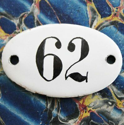 Vintage French Apothecary Porcelain Enamel Number Sign 62