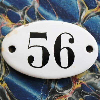 Vintage French Apothecary Porcelain Enamel Number Sign 56