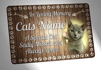 Your Photo Personalised Cat Memorial Plaque. Waterproof, for garden etc