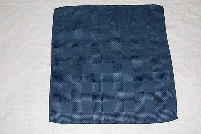 Dark Blue Wool Prince Of Wales Check Pocket Square/handkerchief. New
