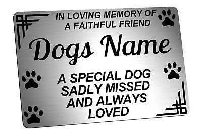 Personalised Dog Memorial Plaque Brushed Silver. Pet. For garden, grave etc.