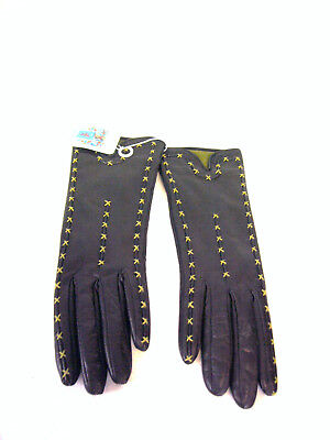 Portolano Women's Black Smooth Leather Gloves with green stiching accent, size 7