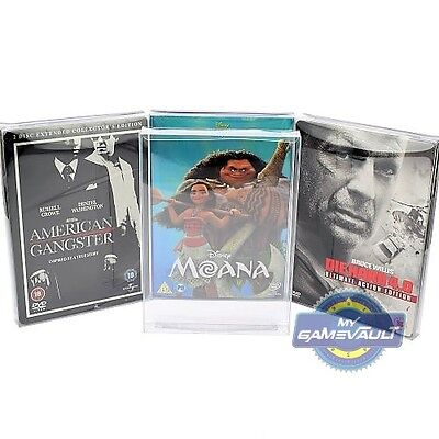25 x DVD Steelbook & Slip Cover Box Protectors Strong 0.4mm Plastic Display Case
