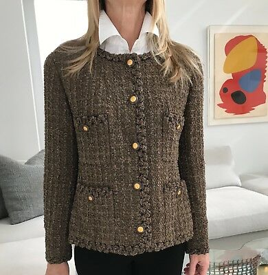 Vintage Chanel Jacket From Mid 1990'S, Multi Brown Boucle, Size 40/Us8