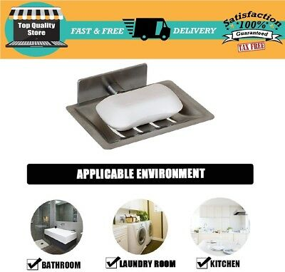 Stainless Steel Wall Mounted Soap Dish Holder Bathroom Shower Soap Bar Holder