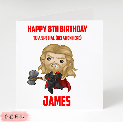 Thor Chris Hemsworth personalised Birthday Card - Any Name & Age