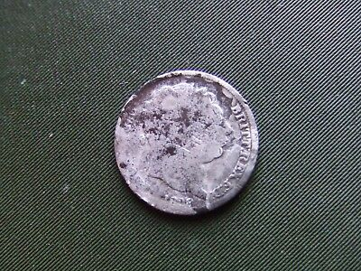 George I I I  1818,  Silver Sixpence.  Rare Date.  Poor Condition.