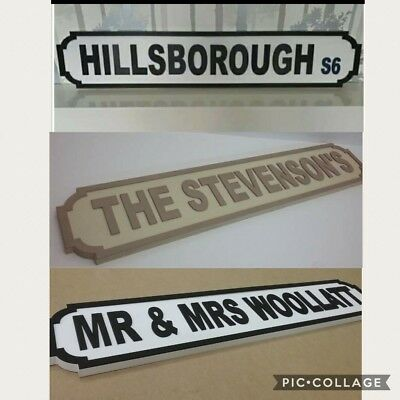 PERSONALISED wooden street sign  hand made mr & mrs wedding  80cm x 15cm