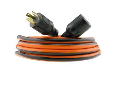 30 Amp NEMA L6-30 extension cord 3 Prong Wire 10 Gauge Generator Power 25 ft