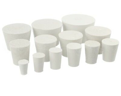 12 Pack - White Solid Rubber Stoppers - Size #000 to #10 - Assorted Bung Plug