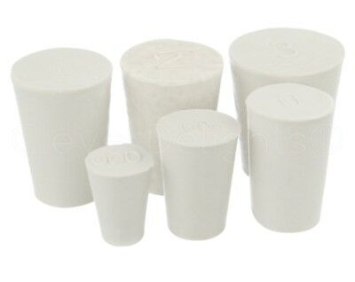 6 Pack - White Solid Rubber Stoppers - Size #000 to #3 - Mix - 1 of Each Size