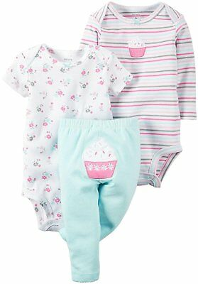 Carter's Baby Girl's 3 Piece Cupcake Bodysuits & Leggings Set NWT Size 12 Months