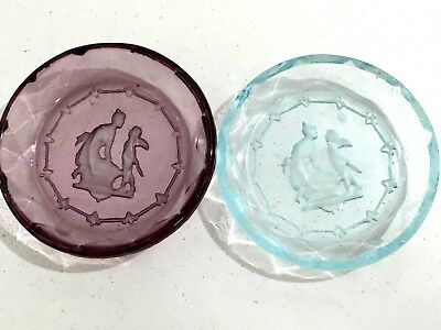 TWO Vtg Czech Etched Crystal Aqua and Purple Intaglio Salt Cellar Butter Pat