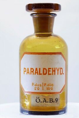 Rare antique Paraldehyde amber bottle with glass stopper