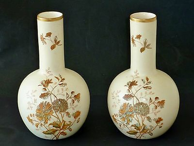 PAIR ANTIQUE blush VASES hand painted o' transfer COLOURS English FRENCH decor