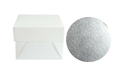 "10 x 8"" Silver Round Cake Board & White Box Combo Pack - Thick Drum Wedding Bak"