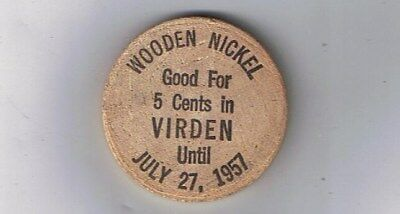 Old Wooden Nickel 1957 - VIRDEN ILLINOIS