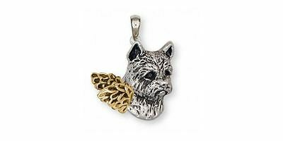 Norwich Terrier Angel Pendant Jewelry Silver And Gold Handmade Dog Pendant NT4-T