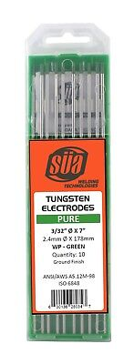 "SÜA - Pure Tungsten Electrode - TIG - 3/32"" x 7"" - (Green Tip) - (10 PACK)"