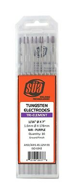 "SÜA - Tri-Element Tungsten Electrode - TIG - 1/16"" x 7"" - Purple Tip - (10 PACK)"