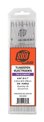 "SÜA - Tri-Element Tungsten Electrode - TIG - 0.04"" x 7"" - Purple Tip - (10 PACK)"
