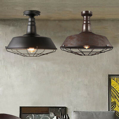 Vintage Industrial Wrought Iron Cage Semi Flush Mount Ceiling Light Pendant Lamp