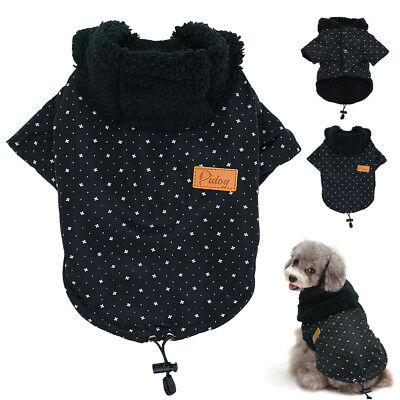 Black Small Dog Clothes Pet Puppy Coats Winter Warm for Chihuahua Poodles 4 Size