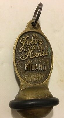 VINTAGE BRASS JOLLY RESIDENCE MILANO 2 HOTEL KEY FOB(only) ROOM 719