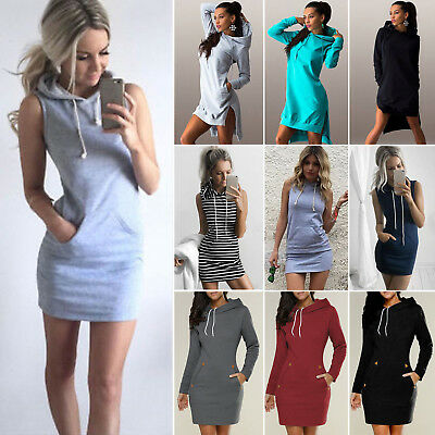 Womens Hoodie Mini Dress Hooded Sweatshirts Casual Pullover Jumper Sweater Tops