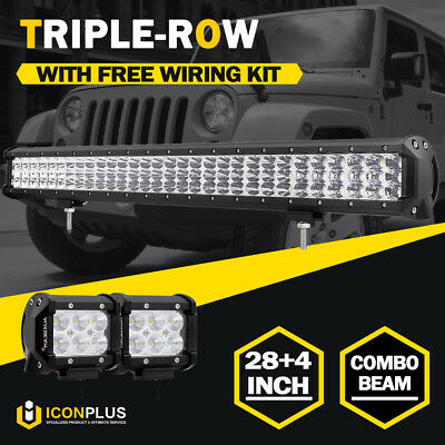"TRI ROW 28INCH 1260W LED Work Light Bar + 4"" 18W Fog Lamp Offroad UTE 4x4WD 32"""