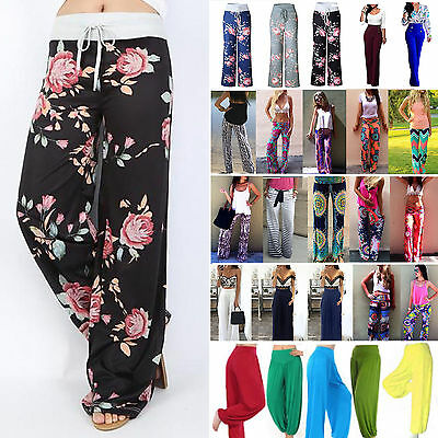 Women Boho Floral Long Pants Palazzo Baggy Wide Leg Summer Casual Yoga Trousers