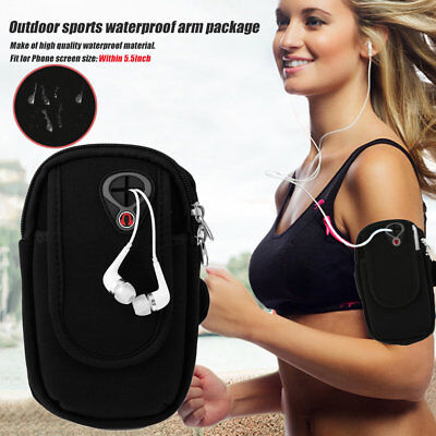"""Waterproof Sport Arm Band Holder Pouch Case Earphone Hole For 5.5"""" Cellphone F7"""