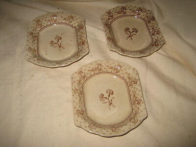 3 Brownfield & Sons Harvard Transferware Butter Pats Antique Victorian