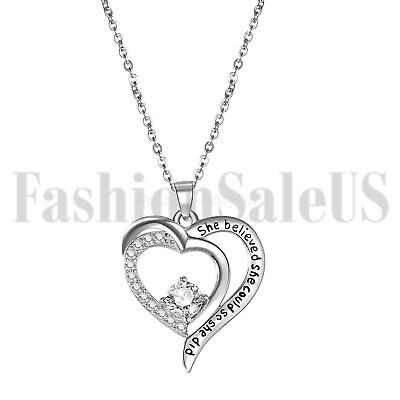 925 Women's She Believed She Could So She Did Inspirational Heart Necklace Chain