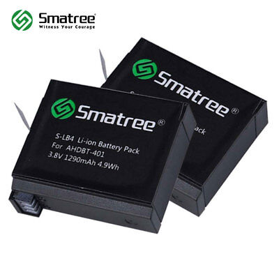 Gopro Hero 4 Battery(2 Pack) by Smatree AHDBT-401