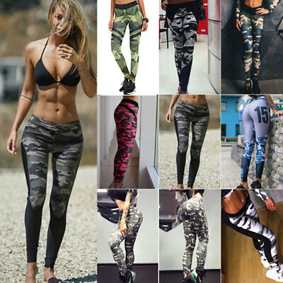 Womens Camo Yoga Pants Fitness Leggings Running Gym Sportswear Stretchy Trousers