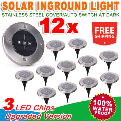 12x Solar Powered 3 LED Buried Inground Recessed Light Garden Outdoor Deck Path