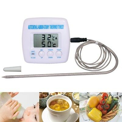 LCD Digital Timer Food Thermometer Probe Sensor Alarm Cooking Catering BBQ