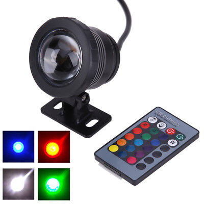 16Colors Remote Waterproof 10W RGB LED Underwater Spot Light Pond Aquarium Lamps