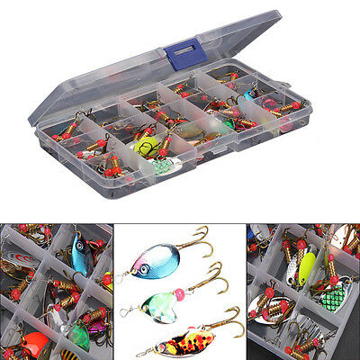 30pcs Steel Metal Trout Spoon Metal Fishing Lures Spinner Baits Bass Tackle