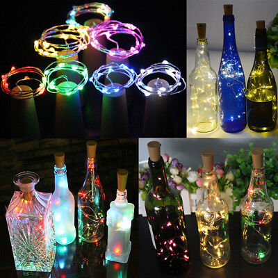 10/20 LED Cork Shape String Fairy Night Light Wine Bottle Lamp Solar/Battery