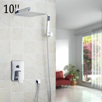 Wall Mount Rainfall Shower Combo Set with Chrome 10Inch Square Head and Handheld