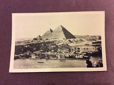Antique Postcard - Pyramids and Village During Nile Flood - Egypt - Unused