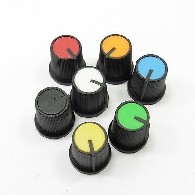 Various of Color Plastic 6mm Shaft Hole Potentiometer Knob Rotary Control Cap