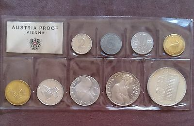 1966 9-Pc Austria Proof Set KM-PS7 low mintage with only 1,765 sets made