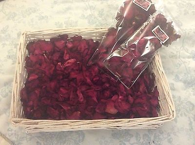 Dried red rose petals wedding aisle confetti celebration table centres 30g bag