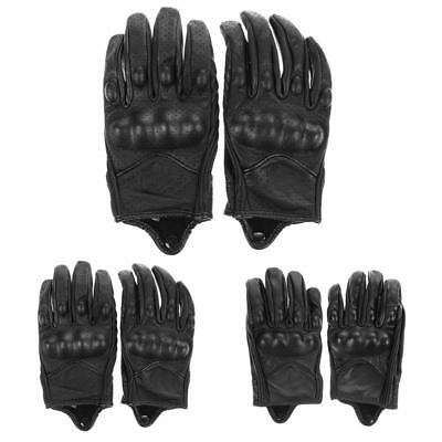 Motorcycle Motorbike Cycling Protective Armor Black Short Leather Gloves M L XL